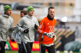 Chad Marshall and Stefan Frei jog during practice. ( SoundersFC)