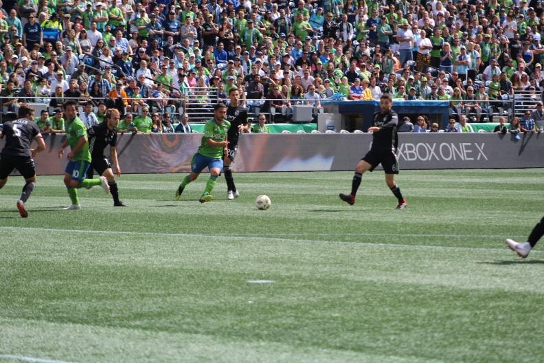 Roldan dribbles the ball