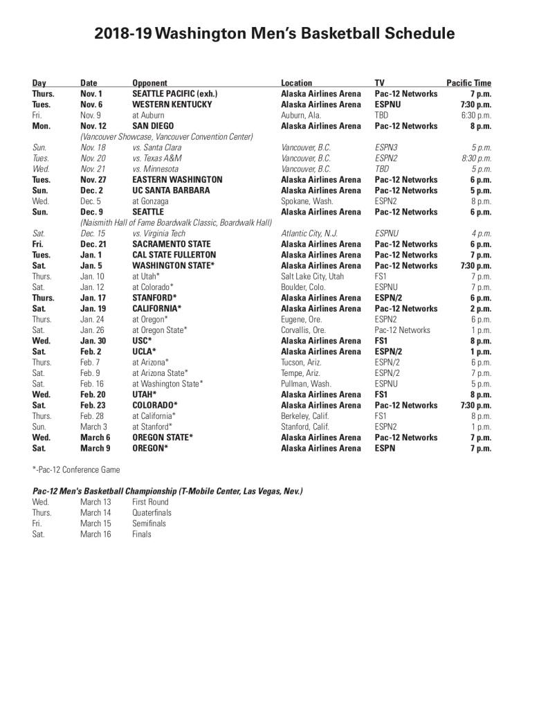 Washington Huskies Men's Basketball 2018-19 Schedule